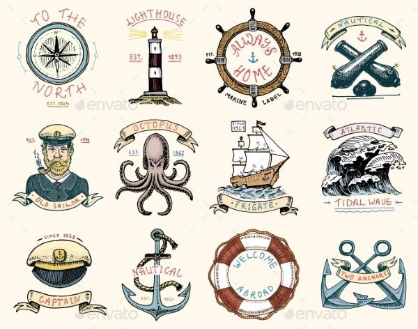 Set of Engraved Vintage Labels