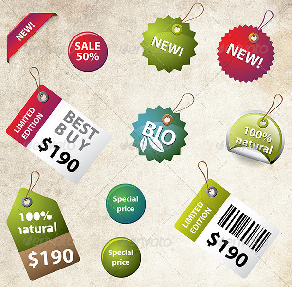 Set of Retro Price Labels and Badges