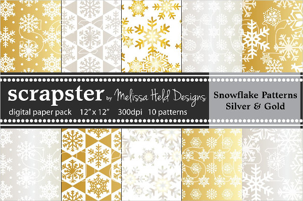 Silver & Gold Snowflake Pattern Set