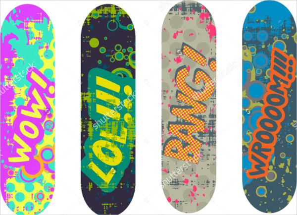 Skateboard Designs Pack with Cartoon Style