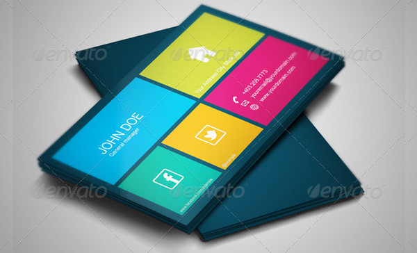 Square Business Card Template in Metro Style