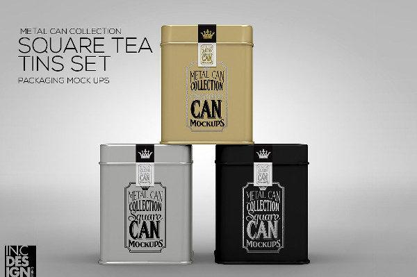 Square Tea Tin Set Packaging Mockup