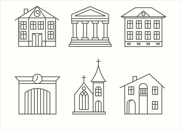 Stylish House Building Icons Set