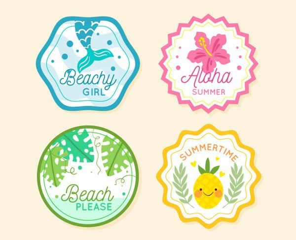Summer Labels Collection with Nature Free