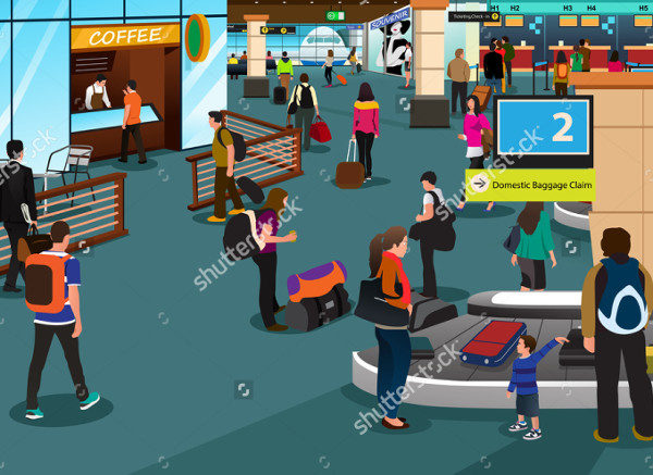Vector Illustration of People Inside the Airport Scene