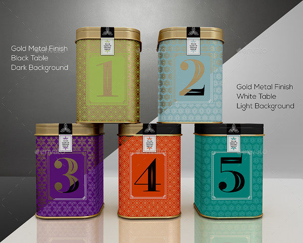 Tin Cans Packaging Tea Mockup