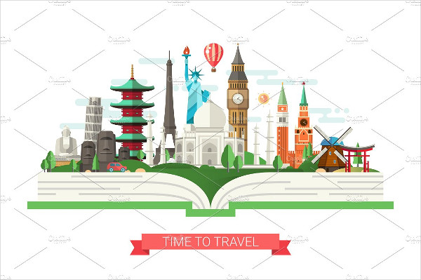 Travel Banner Template with Famous Landmarks