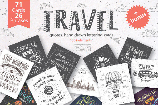 Travel Hand Drawn Postcards & Banners