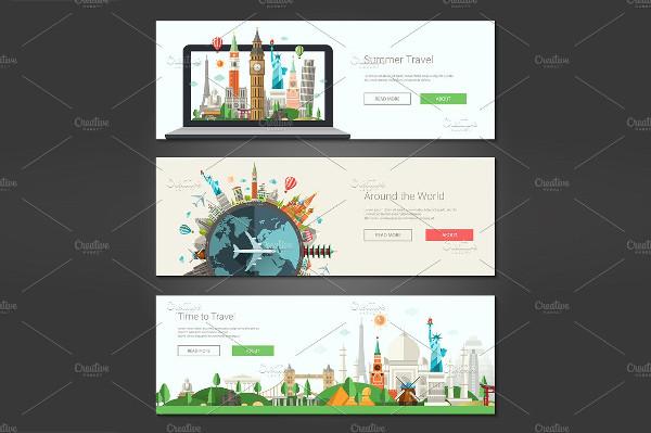 Travel Web Design Banners Set