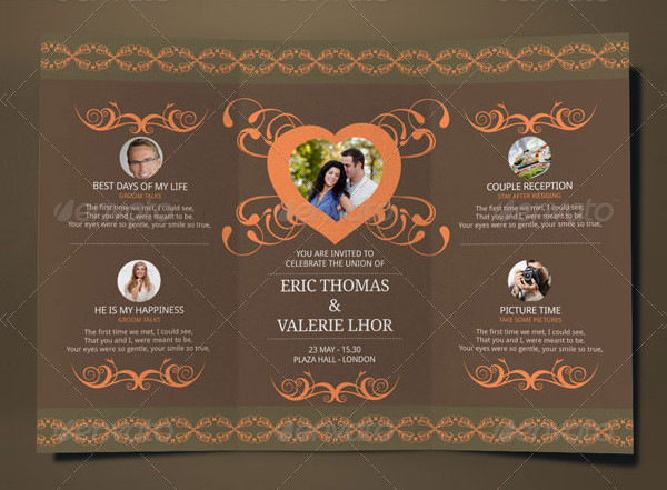 Tri Fold Wedding Invitation Card Template