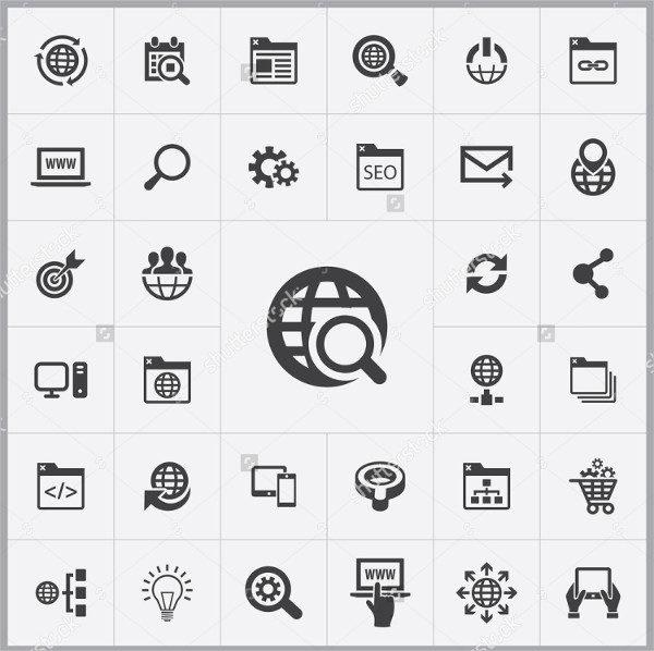 Universal SEO Icon Set for Web and Mobile UI