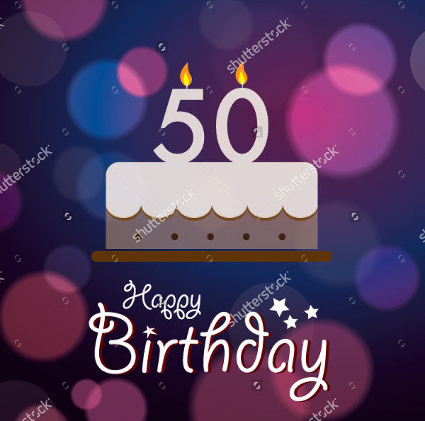 Happy 50th Birthday Vector Invitation Background