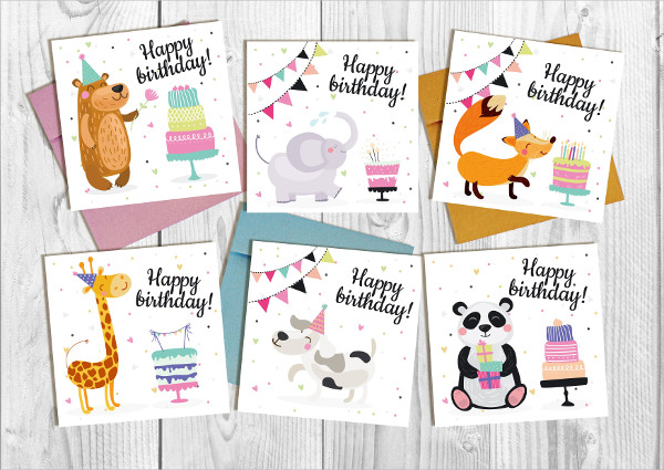 Vector Funny Birthday Card Set