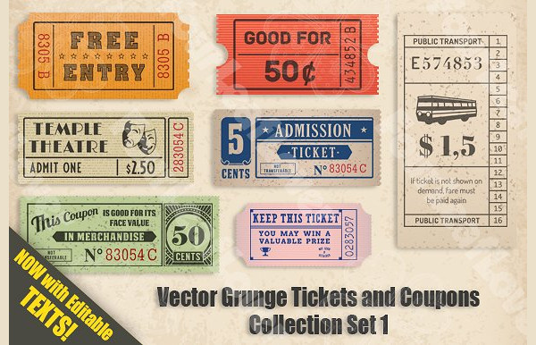 Vector Grunge Tickets and Coupons Collection