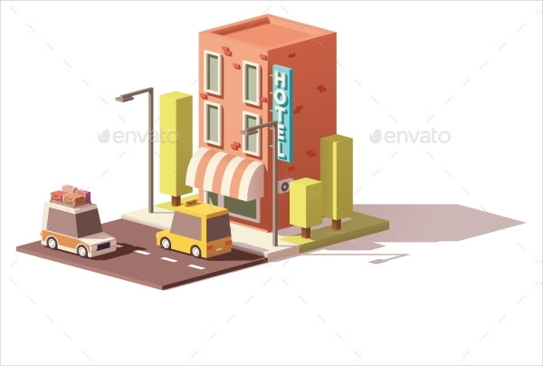 Vector Low Poly Hotel Icon