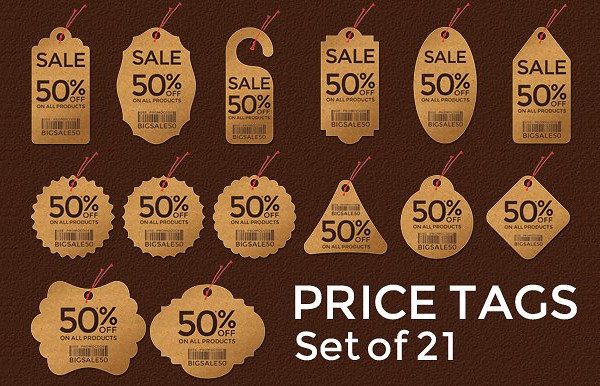 Set of 21 Pixel Perfect Price Tags