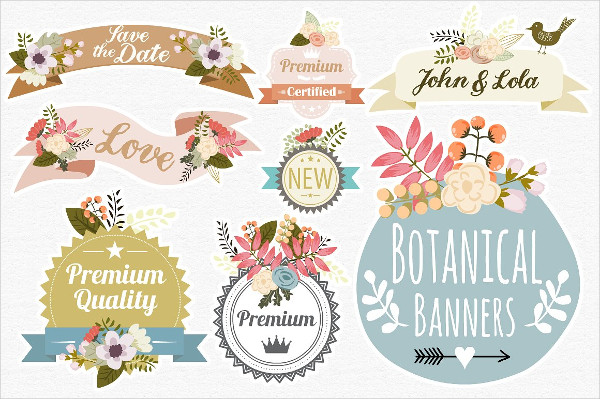 Vintage Botanical Banners