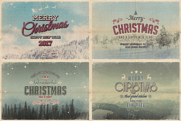 Vintage Christmas Cards PSD