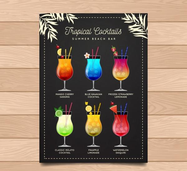 Vintage Menu of Delicious Cocktails Free