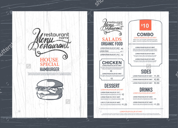 Vintage Restaurant Menu Template Design