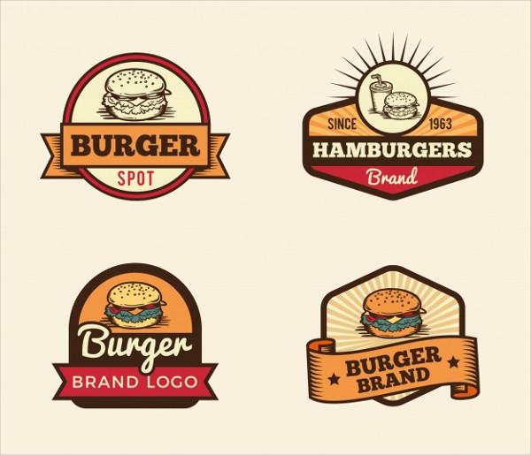 Vintage Selection of Burger Logos Free