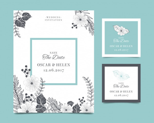 Vintage Wedding Invitation Card with Flowers Free