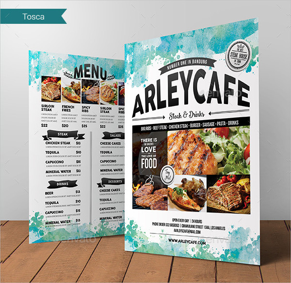 Watercolor Cafe Menu Flyer Template