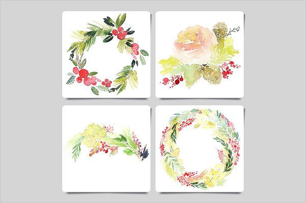 Watercolor Christmas Greeting Card Templates