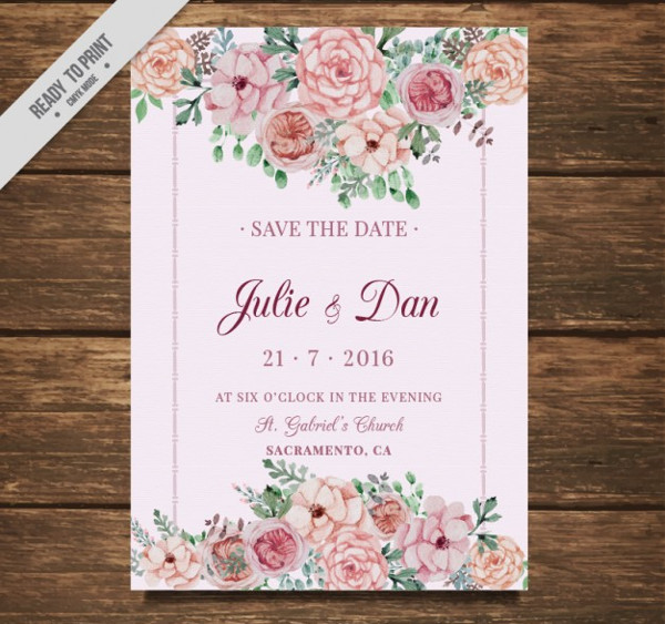 Wedding Card with Flowers Free
