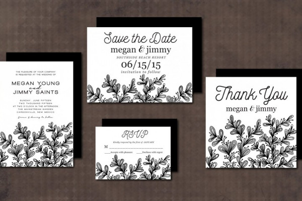 Wedding Invitation Suite Leaves
