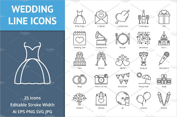 25 Wedding Line Icon Pack
