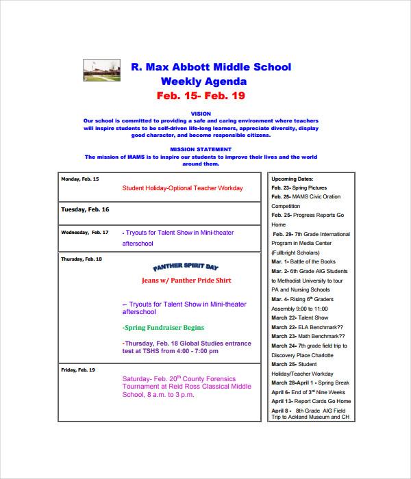 Weekly Agenda Templates
