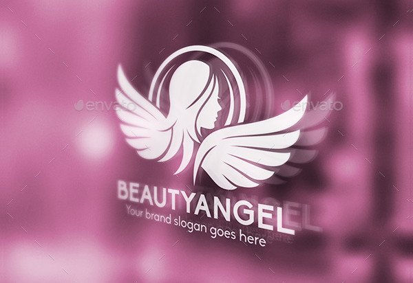 Beauty Angel Woman Wings Logo