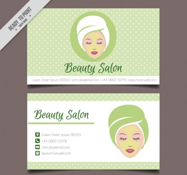 Woman Beauty Salon Dotted Card Free
