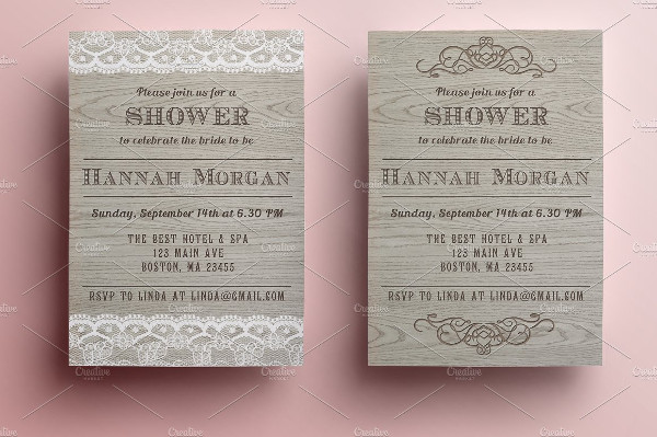 Wooden Bridal Shower Invitations in 2 Versions