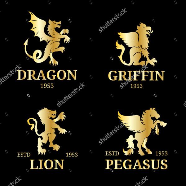 Luxury Pegasus or Dragon Logo Template