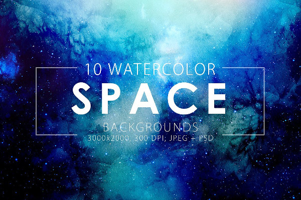 10 Space Watercolor Backgrounds