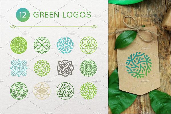12 Green Flower Logos