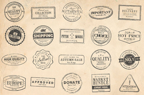 20 Rubber Stamps made in Photoshop & Illustrator