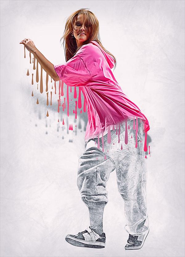 3D Wet Paint Photoshop Action