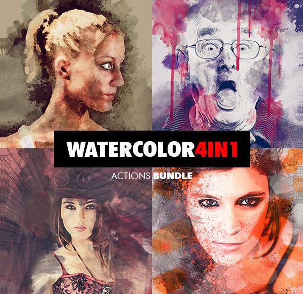 4 in 1 Watercolor Photoshop Actions Bundle