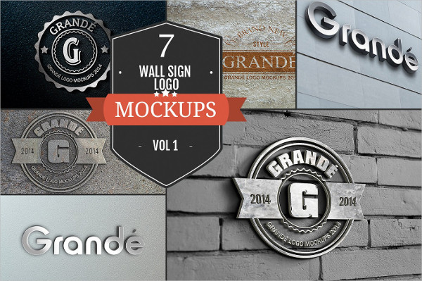 7 Wall Sign PSD Logo Mockups