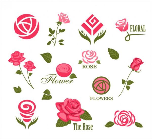 Abstract Rose Logos Free Vector