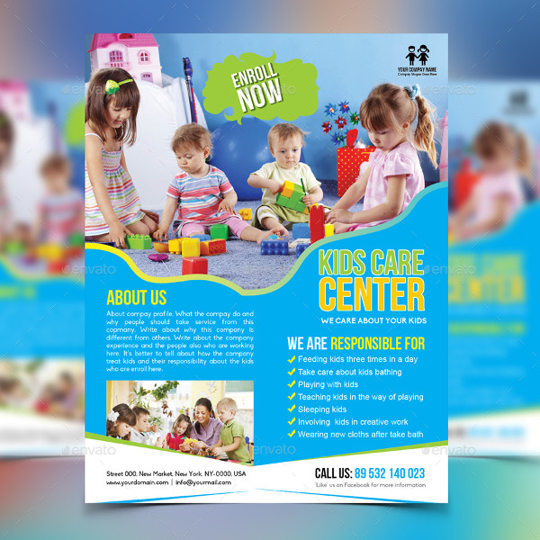 Editable Kids Care Flyer Template