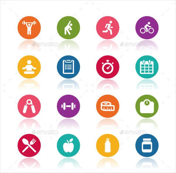 Fitness Icon Set Vector Illustration