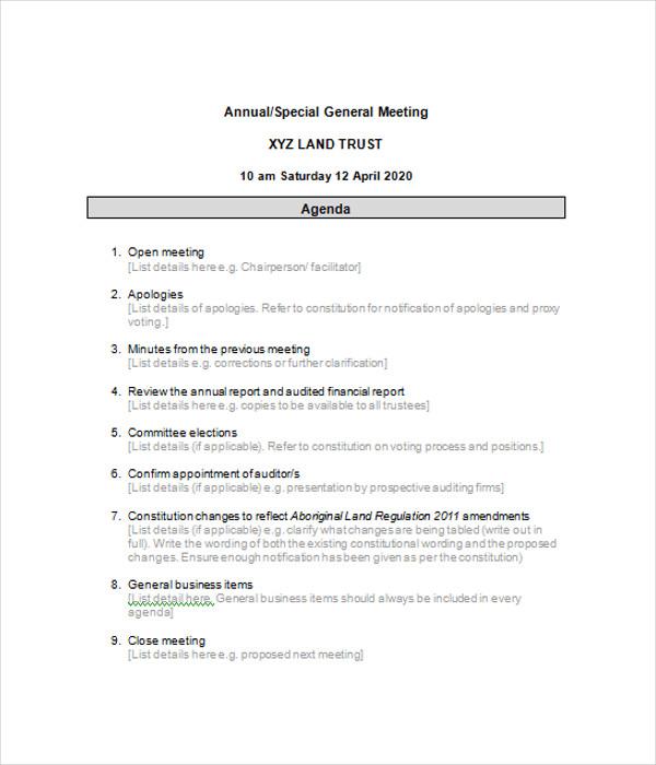 Annual Business Agenda Templates