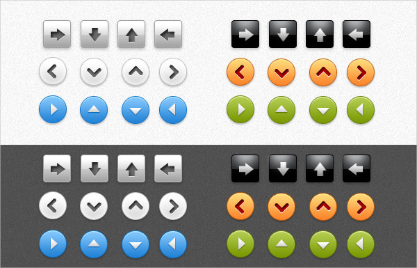 Arrow Buttons Free PSD Pack