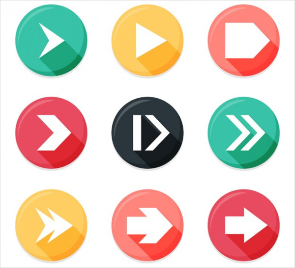 Arrows in Rounded Buttons Free Vector