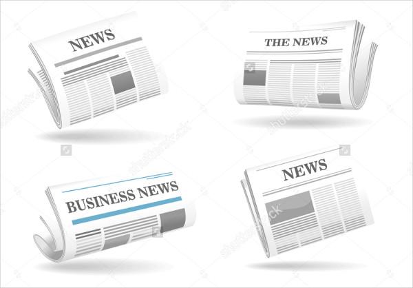 Folded Newspaper Mock-Up Illustration