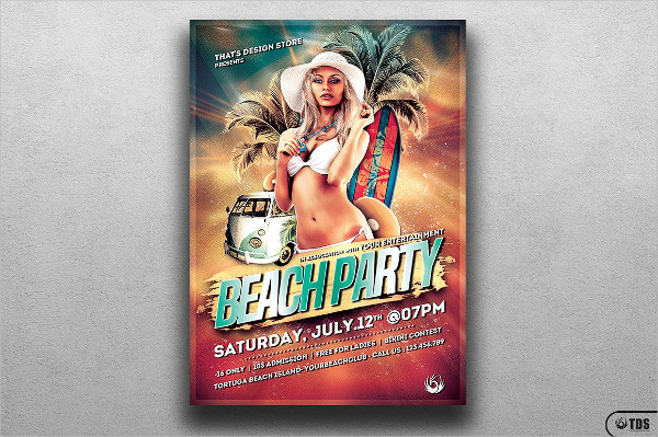 Printable Beach Party PSD Flyer Design